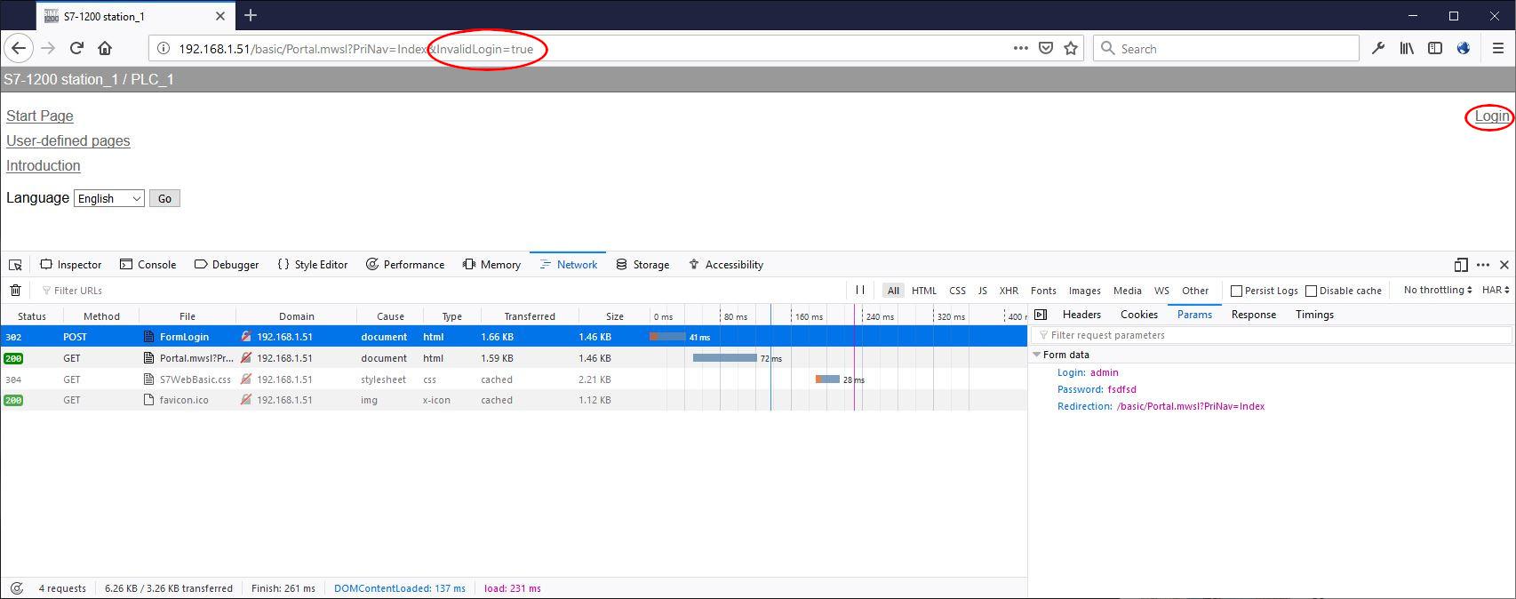 Siemens S7-1200 web server custom login page